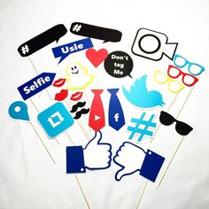 Social media photo booth party props by LeStudioRose on Etsy