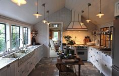 That sink!  That hood! And that island!  Oh my!  Steven Gambrel's Sag Harbor Home | La Dolce Vita