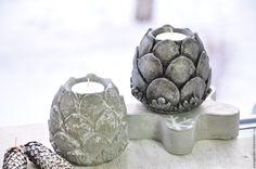 Купить Комплект Артишоков из бетона, подсвечники и фигура артишока - артишок, шишка, декор для дома