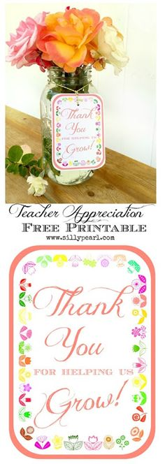 Teacher Appreciation Free Printable Gift Tag - Thank You For Helping Us Grow - The Silly Pearl