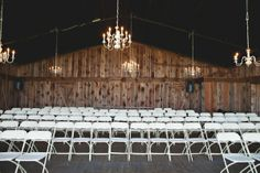 like these thrift store chandeliers at a Handmade North Carolina Wedding