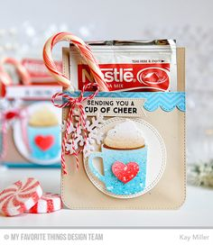 My Joyful Moments: MFT November Release Hot Cocoa Cup Die-namics & Hug A Mug stamps hot chocolate pocket by Kay Miller.