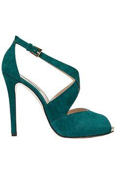 Elie Saab Elegant Green Emerald Sandal Pre-Fall 2013 #Shoes #Heels