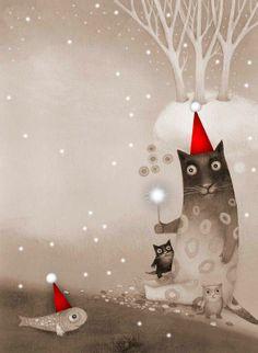 Catherine Zarip - winter cats and fish. - http://www.elk.ee/?illustrator=catherine-zarip-2