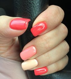 Nail Designs and Ideas 2019 Any lady who cares about how she looks thinks what manicure will best fit the chosen outfit and what types of nails are in the trend at a time. Coral Nail Polish, Pink Nails, Simple Nail Art Designs, Colorful Nail Designs, Fabulous Nails, Gorgeous Nails, Shellac Nails, Acrylic Nails, Nail Polishes