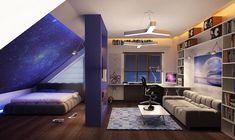 deco chambre ado, pièce sous pente aux murs blancs avec déco murale à design univers