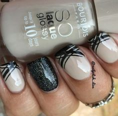 Nude, black, two colors, stripes, accent nail, glitter, medium, short nails