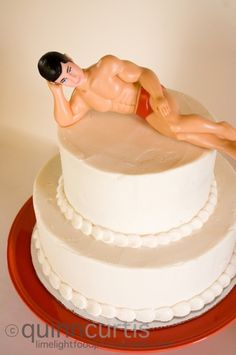 """hilarious cake topper, whole post is throwing a """"trophy husband"""" party theme for your hubby-- such fun ideas!!"""