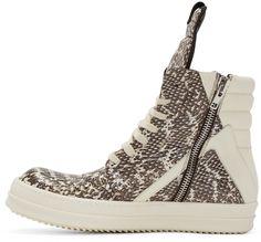 Rick Owens Grey Snakeskin Geobasket High-Top Sneakers