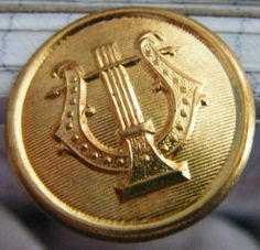 Antique Gold Metal Button Tie Tack With Harp by parkledge on Etsy, $3.00