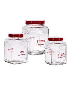 This Square Glass Canister Set by Home Essentials and Beyond is perfect! #zulilyfinds