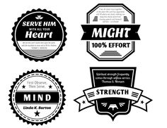 Four printable badges for the 2015 LDS Youth Theme: Heart, Might, Mind and Strength. D&C 4:2.
