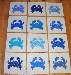 Set of 12 Mixed Blue Crab 6 x 6 Cotton Quilt by MarsyesShoppe