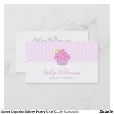 Sweet Cupcake Bakery Pastry Chef Catering on Pink Business Card