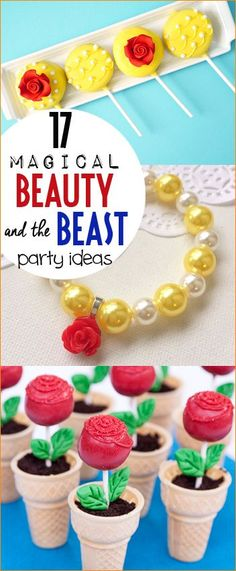 17 Magical Beauty and the Beast Party Ideas.  Stunning party decor, food and activities for a flawless princess party.  Disney party ideas for a beautiful little princess.  DIY cake pops, cupcakes, invitations and party favors.