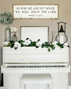 Farmhouse Style Living Room White Piano Framed Shiplap Magnolia Garland Decor Steals Vintage Lantern As For Me And My House We Will Serve The Lord Sign Living Room Inspo www.acleanprismlife.com