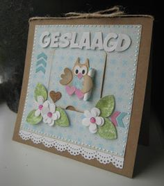 Boukjes Blog!: Geslaagd! Owl Card, Bird Cards, Marianne Design, Love Cards, Birthday Cards, Card Making, Blog, Frame, Cute