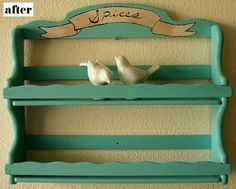 Spice Rack: Repurposed Spice Rack nailed into back of door Spice Rack Paint, Wood Spice Rack, Spice Shelf, Spice Racks, Upcycled Furniture, Painted Furniture, Spice Organization, Shelf Design, Crafty Craft