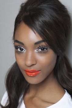 Get the look with MAC Lipstick in Morange topped with MAC Lipglass in Clear