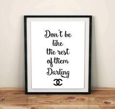 coco de Chanel cita chanel pared decoración adolescentes habitación decoración pared descargables impresión digital descargar digital arte de impresión gráfica digital