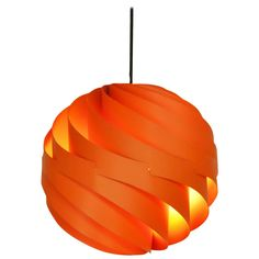 """Rare Orange """"Turbo"""" Hanging Pendant by Louis Weisdorf for Lyfa, Denmark, 1960s 