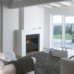 Boley 840 BRN - Product in beeld - - UW-haard. Living Room Grey, Home Living Room, Stucco Fireplace, Fireplaces, Comfy Sofa, Family Room, Sweet Home, New Homes, Interior Design