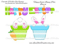 Happy Easter bunny in pot easter carrot by LuziEllisGraphics Reverse Mirror, Happy Easter Bunny, T Shirt Transfers, Kid Names, Carrot, My Etsy Shop, Banner, This Or That Questions, Digital