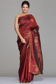 Maroon Kanjivaram Silk Saree With Half-Fine Gold Zari Chakra Motifs All Over & Thin Gold Zari Border: