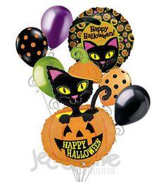 7 pc Black Cat Yellow Eyes Balloon Bouquet Party Decoration Happy Halloween