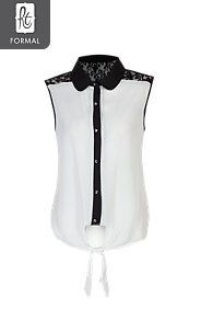 LACE INSET TIE FRONT SHIRT Lace Inset, Fashion Styles, Style Me, Tie, Lady, Shirts, Lace Insert, Clothing Styles, Ties