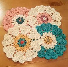 Watch The Video Splendid Crochet a Puff Flower Ideas. Wonderful Crochet a Puff Flower Ideas. Crochet Coaster Pattern, Crochet Mandala Pattern, Crochet Circles, Crochet Flower Patterns, Crochet Squares, Crochet Shawl, Crochet Flowers, Crochet Stitches, Knitting Patterns