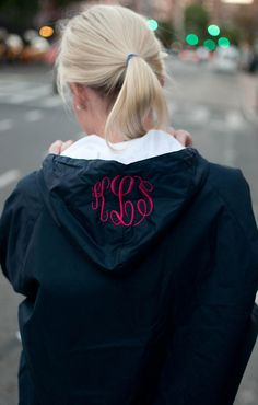 Anorak rain coat with a monogrammed hood. (Only monogram on chest) Preppy Mode, Preppy Style, Style Me, Preppy Fall, Monogram Jacket, Fall Outfits, Casual Outfits, Raincoats For Women, Dress To Impress
