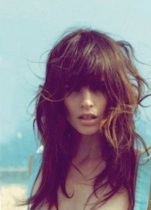 Layers and long bangs, brunette