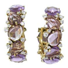 Pomellato Lulu Amethyst Diamond Gold Hoop Earrings | From a unique collection of vintage hoop earrings at https://www.1stdibs.com/jewelry/earrings/hoop-earrings/