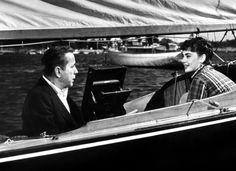 Humphrey Bogart and Audrey Hepburn in SABRINA (1954).