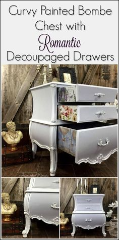 Add decoupage to painted furniture. Decoupage pretty prints to the sides of drawers for an added surprise.