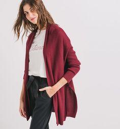 Sweter damski oversize bordowy - Promod