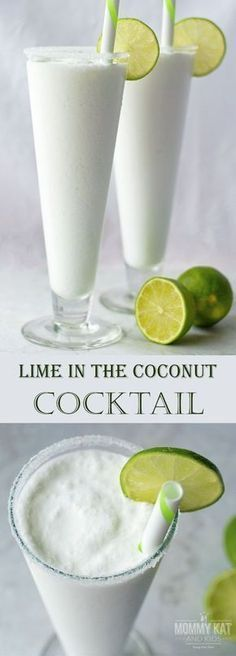 Looking for a unique and delicious cocktail to serve at your next summer party? You've got to try this Lime in the Coconut Cocktail! With rum, coconut milk and margarita mix, it's fun, delicious and ready in minutes! Or leave out the rum for a mocktail Non Alcoholic Drinks, Cocktail Drinks, Lime Drinks, Cocktail Ideas, Champagne Cocktail, Drinks With Rum, Lime Cocktail Recipes, Bacardi Drinks, Virgin Cocktails