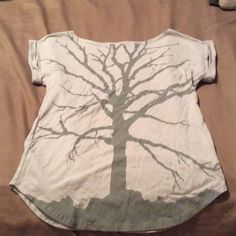 Urban outfitters tree branch t-shirt Wide neck, short sleeves, cuffed sleeve, light gray Urban Outfitters Tops Tees - Short Sleeve