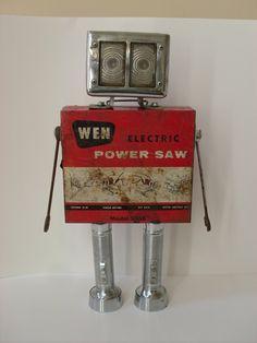 ROBOT METAL SCULPTURE Steampunk Vintage Junkyard Auto Parts Unique Tools Recycled Art. $249.99, via Etsy.
