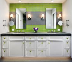 Love the green for the kids' bathroom... It would grow with them!
