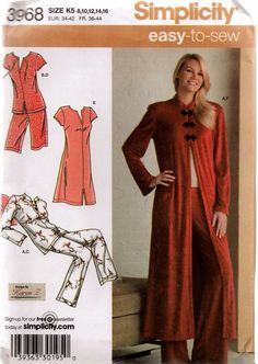 Simplicity 3968 Misses Loungewear  Sewing Pattern Size 8-16 UC #Simplicity