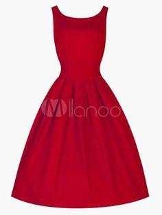 Slim Fit Cotton Blend Sleeveless Pleated Flare Dress - Milanoo.com