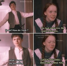 Anne with an E 3 memes *This scenes didn't happen* Anne And Gilbert, Anne White, Gilbert Blythe, Anne With An E, Mr Darcy, Anne Shirley, Cuthbert, Kindred Spirits, Band Memes