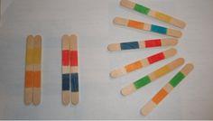 Jeu de paires avec des bâtonnets en bois