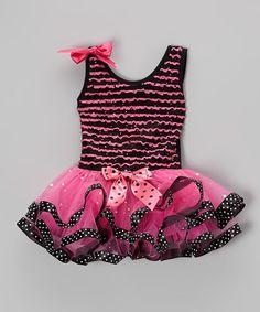 Hot Pink Polka Dot Ruffle Dress - Toddler & Girls
