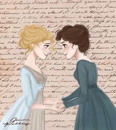 Jane and Lizzie - Pride and Prejudice Jane Austen Jane Eyre, Regency Fashion, Zombies, Geeks, Cover Art, Elizabeth Gaskell, Jane Austen Novels, Mr Darcy, Charlotte Bronte