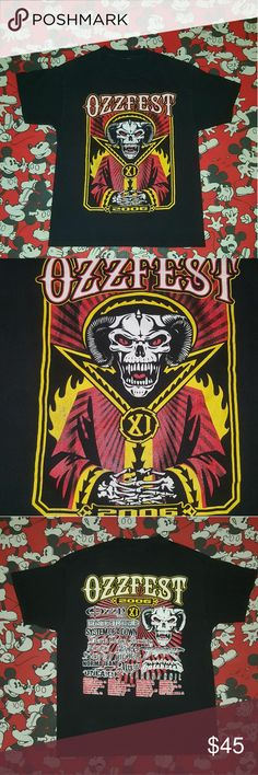 """Vintage Ozzfest tee 🤘🤘🤘Vintage 2006 Ozzfest tee! In great condition with rockin front and back graphics featuring the 2006 tour line-up and venue cities! No size tag but will fit most depending on how its worn and body type. Measurements: Length --26"""", Shoulder to shoulder --18"""", Pit to pit --18"""". Feel free to hit me up for more info and muchas gracias for checkin out my vintage threads!✌❤😁⚡🤘 Vintage Tops"""