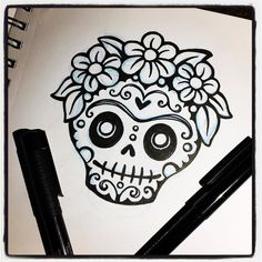 Another day another #doodle. This one is a #fridakahlo inspired #sugarskull for a new #quote design . . . #earthenwood #art #artwork #artist #draw #drawing #sketch #sketchbook #sketching #doodle #ink #penandink #inking #artlife  #sketchaday #dailysketch #creativeentrepreneur #creativelife #makersgonnamake #handmade #makersmovement #frida #skull #diadelosmuertos