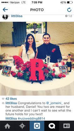 Wedding day sweetheart table 8.8.14